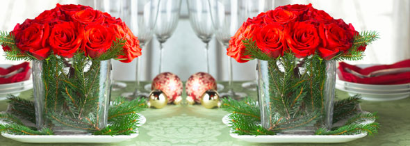Holiday and Christmas Centerpiece with Runner and Candles
