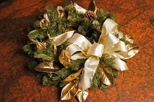 image of a hand made bow that can be used for decorating a wreath or decorating a Christmas tree with ribbon
