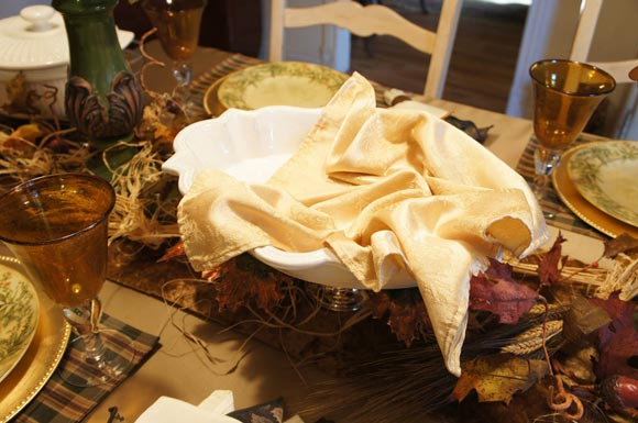 image of a dish for holding dinner rolls as holiday and Christmas centerpiece