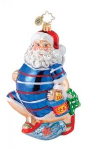 Glass Christmas Ornament Santa at Beach