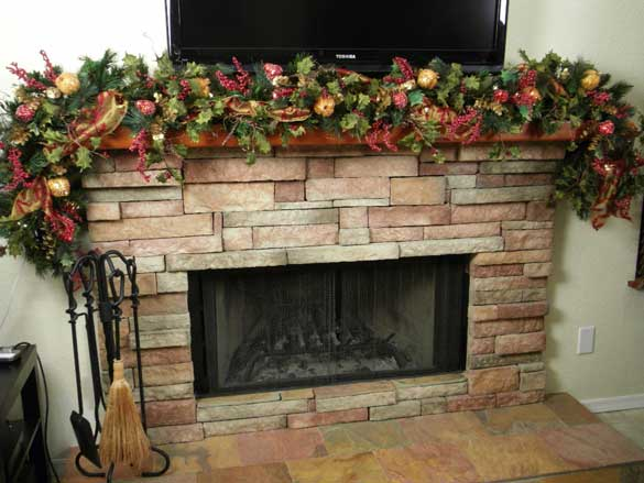 fireplace mantel christmas decorations ideas use of fruit stems - Christmas Fireplace Decorating Ideas